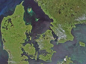 Satellite view over Denmark: The Great Belt is...