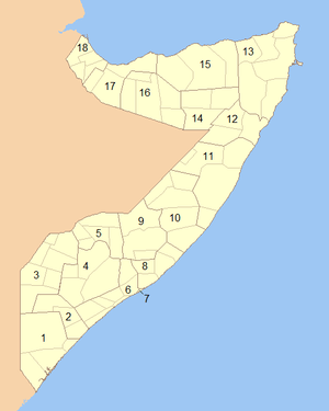 Blank map of Somalia showing the regions (numb...