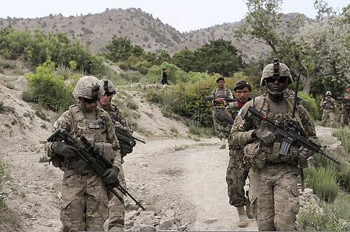 U.S. Army paratroopers assigned to the 3rd Platoon, 1st Squadron, 40th Cavalry Regiment patrol in Paktia province, Afghanistan, June 5, 2012 120605-A-FH435-007