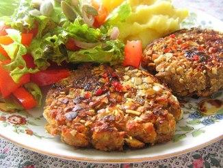 Vegan patties with potatoes and salad
