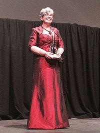Ann Leckie receiving the Hugo Award in 2014