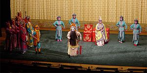 Peking opera   Wikipedia Farewell My Concubine  one piece of classical Peking opera  The woman   Consort Yu  deeply loved the King Xiang Yu  middle of the stage   and when  he failed