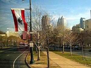 English: Viewing Benjamin Franklin Parkway tow...
