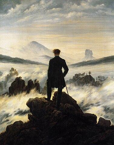 """Caspar David Friedrich: """"Caminante sobre el mar de brumas"""" —Aquí, un aleman. —Aquí la trascendencia —Encantado"""