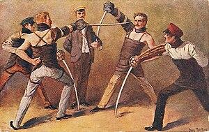 Sabre duel of German students, around 1900, pa...