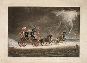 The mail coach in a thunderstorm on Newmarket ...