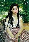 """""""Im Sommer"""" von Pierre-Auguste Renoir, 1868; 85 × 59 cm, Öl auf Leinwand, Alte Nationalgalerie in Berlin"""