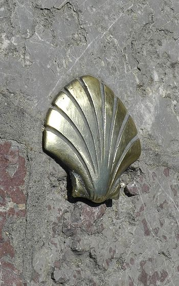 St. James's shell, a symbol of the route, on a...