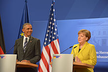 Merkel with Barack Obama in Hannover, Germany, April 2016