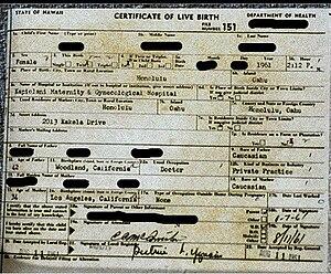 Birth certificate of female born in Hawaii in ...