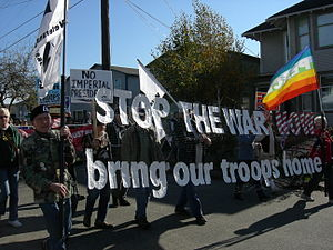 Veterans for Peace contingent in anti-war marc...