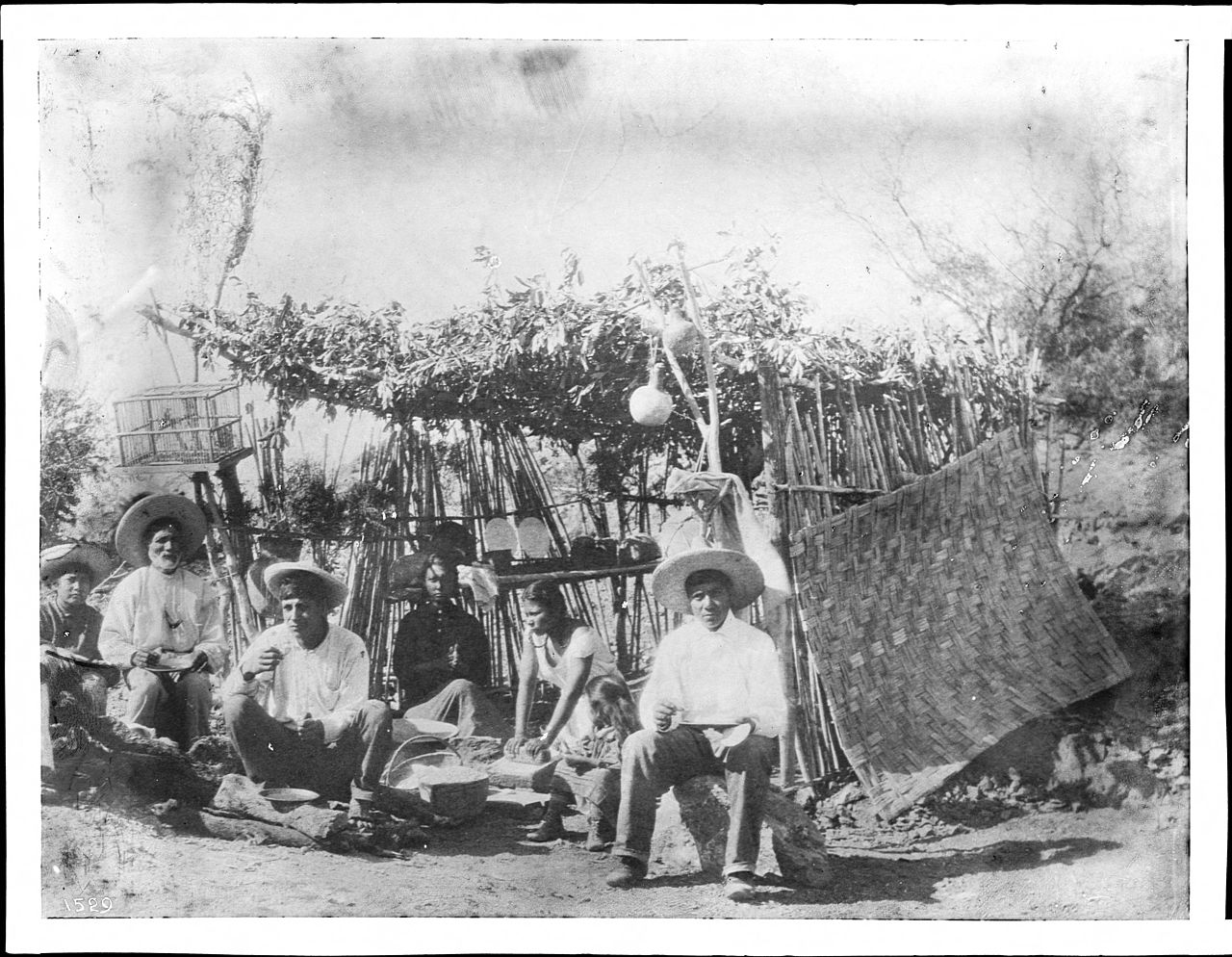 File A Group Of Yaqui Indians At Their Thatched Dwelling