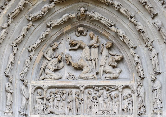 Beheading of Denis and of his companions, tympanum of the north portal of the Basilica of St Denis.