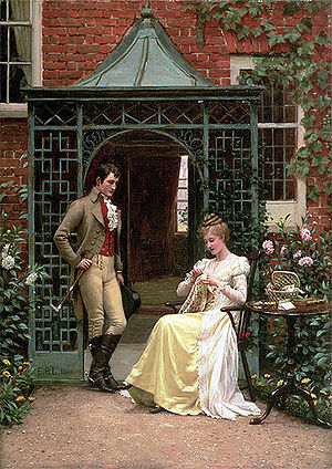 On the Threshold, Edmund Blair Leighton