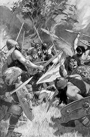 1905 illustration of Lugh's bloodthirsty magic...