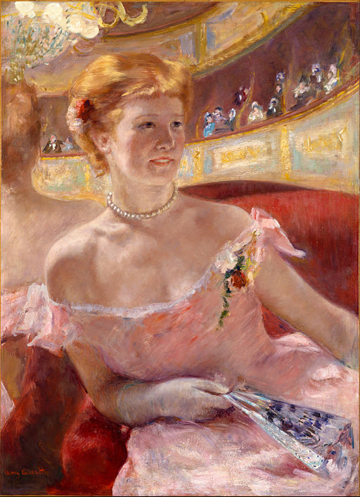 """Woman with a Pearl Necklace in a Loge"" by Mary Cassatt"