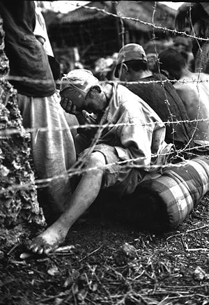 A group of Japanese captured during the Battle...