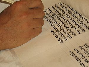 Sofer writing the last letters of the Torah bo...
