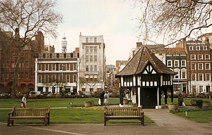 View of Soho Square, London, in 1992. The Post...