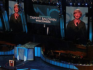 English: Tammy Baldwin speaks during the secon...