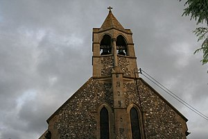 English: Top of the church The small bell towe...