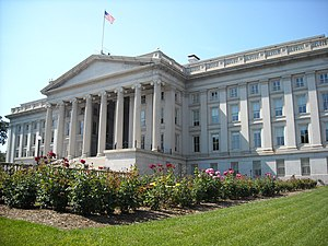 Rear view of the Treasury Department building ...