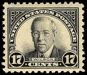 English: US Postage stamp: Woodrow Wilson, Iss...