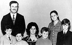 Hafez al-Assad with his family in the early 1970s. From left to right: Bashar, Maher, Anisa, Majd, Bushra, and Bassel.