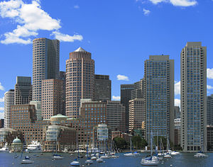 The Harbor Towers (far right) are very promine...