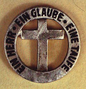Historische Anstecknadel mit biblischem Logo d...