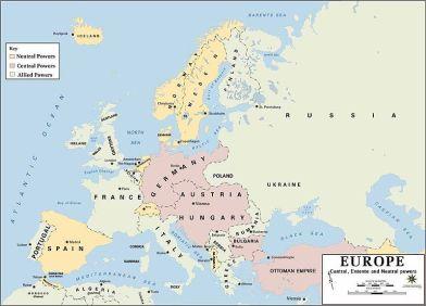 Mapa das Alianças na Primeira Guerra Mundial