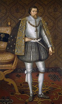 James I of England from the period 1603–1613, by Paul van Somer I (1576–1621)