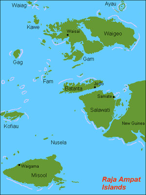 English: Map (rough) of Raja Ampat islands, In...