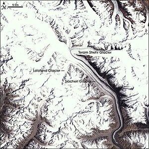 Satellite view of the Siachen Glacier, Kashmir...