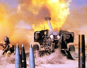 English: firing 152 mm howitzer D-20 belong to...