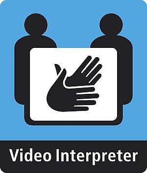 A Video Interpreter sign used at videophone st...