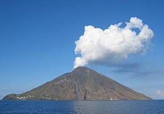 The Stromboli volcano off the coast of Sicily ...