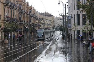 Jerusalem Light Rail in Zion Square on A Rainy...