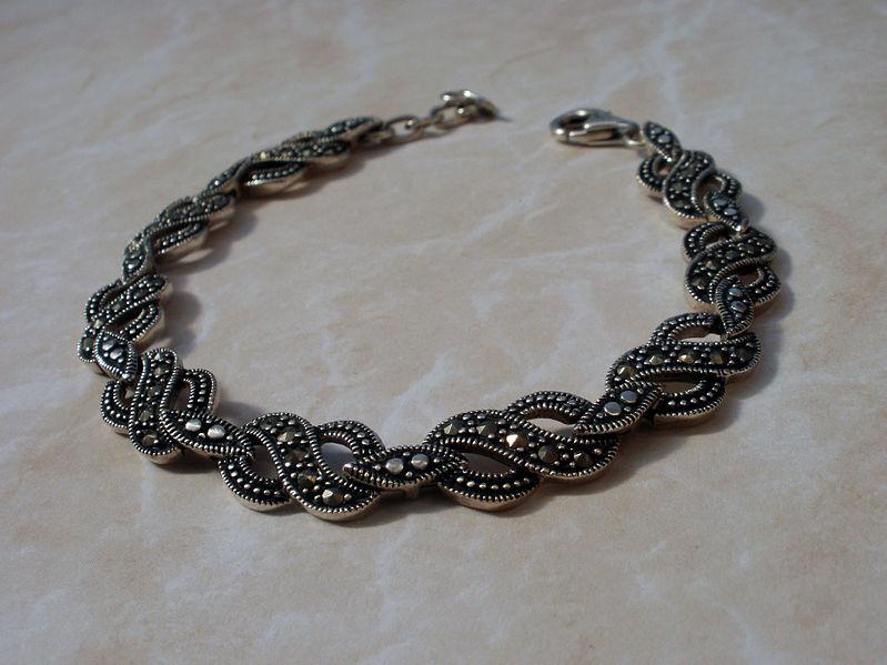 File:Marcasite silver bracelet.jpg