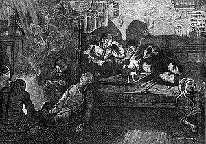 Representación de un fumadero de opio del East End londinense, 1874