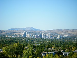 Skyline of Reno, Nevada. Camera is looking nor...