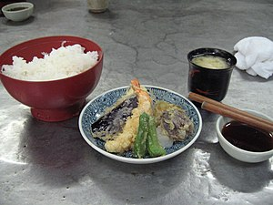 Rice, tempura and miso soup by No Grand Design...