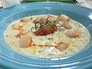 Nantucket bay scallops, potato-corn chowder, r...