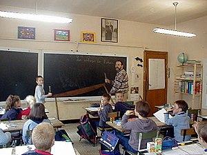 Teaching Walloon at Ochamps (the benevolent te...