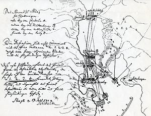 Slaget vid Stäket von Dahlheims karta 1719