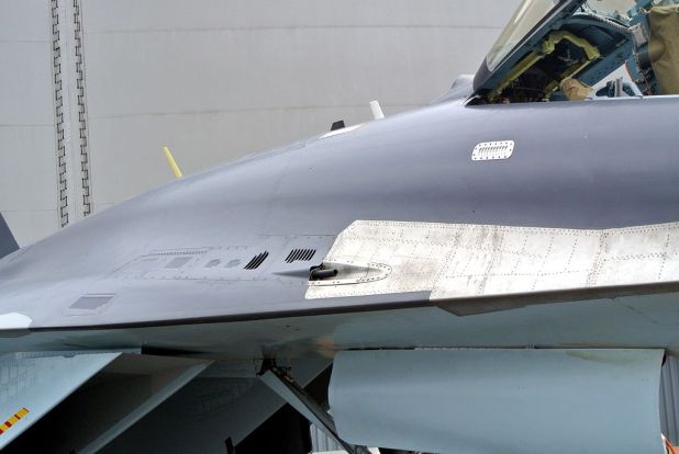GSh-30-1 cannon in starboard wing root, Su-35, Paris Air Show 2013
