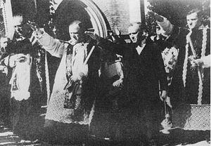English: Sudeten German priests health arrival...