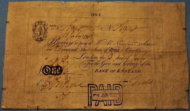 The First £1 note, 1797