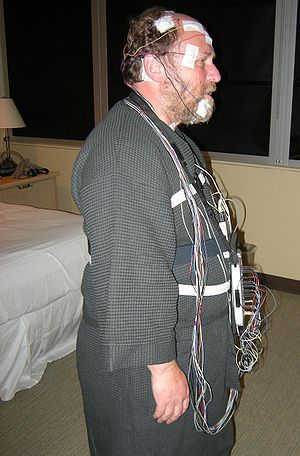 Me, wired up for a sleep study. Photo taken at...