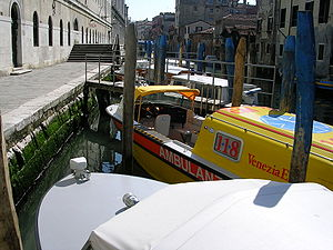 A boat ambulance in Venice Italy.
